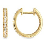 14K Yellow Gold .25 cttw Diamond Hoop Earrings
