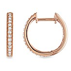 14K Pink Gold .25 cttw Diamond Hoop Earrings