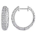 1/6 cttw White Diamond Silver Hoop Earrings