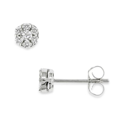 10K White Gold and 1/4 cttw Diamond Pin Earrings