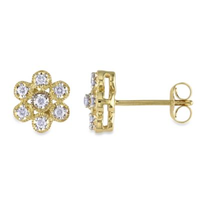 10K Gold .25 cttw Diamond Flower Pin Earrings