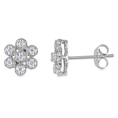 10K White Gold and Diamond 1/4 cttw Pin Earrings