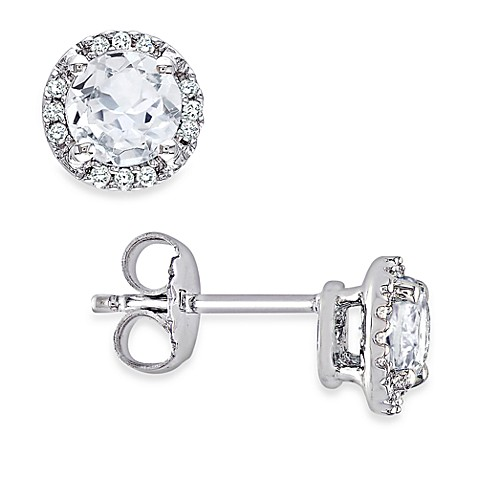 Sterling Silver Diamond and Created White Sapphire Pin Earrings (.07 cttw, G-H Color, I2-I3 Clarity)