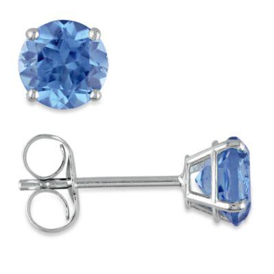 14K White Gold, Round London Blue Topaz Pin Earrings