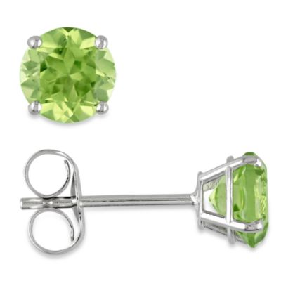 14K White Gold, Round Peridot Pin Earrings