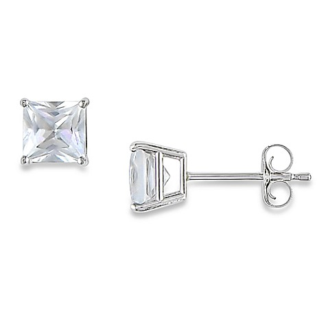 10K White Gold, Square, Created White Sapphire Solitaire Earrings