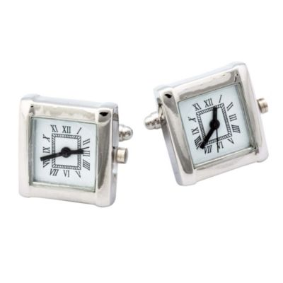 Working Silver Rhodium Plated Watch Cufflinks
