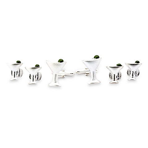 Martini Formal Set Cufflinks w/Sterling Silver Overlay