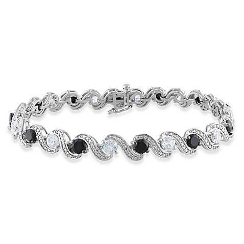 Sterling Silver Black Spinel Created 9 cttw White Sapphire 7.25-Inch Bracelet