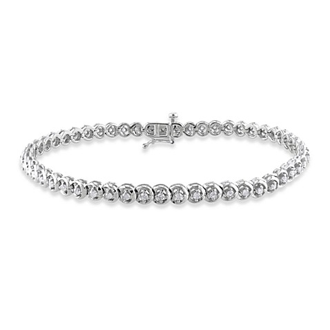 Sterling Silver 4-Prong 1 cttw Diamond Tennis 7.5-Inch Bracelet