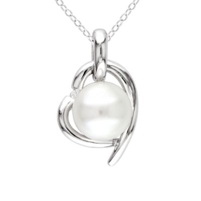 Sterling Silver .02cttw Diamond White Pearl Heart Pendant w/Chain