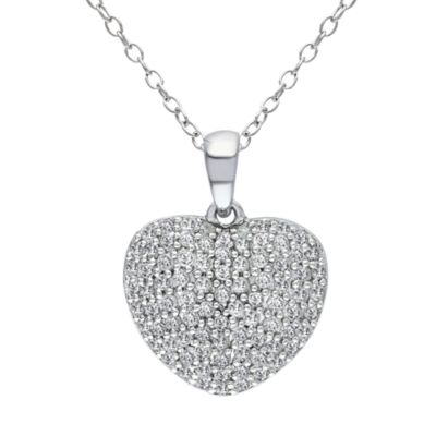 Sterling Silver 1/2 cttw Diamond Heart Pendant w/Chain