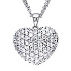 Sterling Silver Created White Sapphire Heart Pendant w/Chain