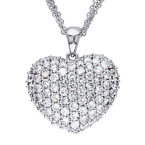 Sonatina Vintage Sterling Silver Created White Sapphire Heart Pendant w/Chain