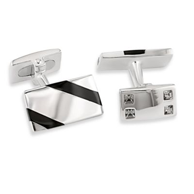 Sterling Silver Onyx w/White Square 3/4-Inch Crystal Cufflinks