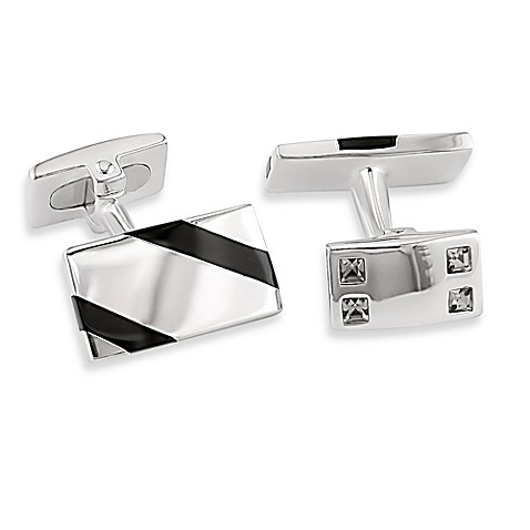 Sterling Silver Striped Onyx and Crystal Accent Cufflinks