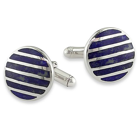 Sterling Silver Cufflinks w/Synthetic Blue Lapis