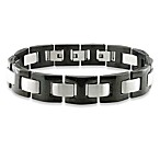 Men's Stainless Steel 9-Inch Black Band Bracelet