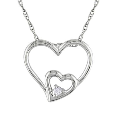 10K White Gold .02cttw Diamond Heart Pendant w/Chain