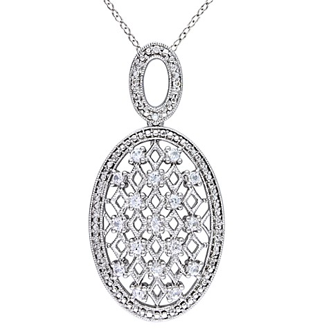 Sterling Silver Created White Sapphire and .028 cttw Diamond Oval Pendant w/Chain