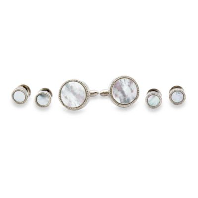 Ribbed Mother of Pearl Silver-Plated Tux Cufflinks and Studs