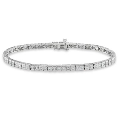 Sterling Silver 1 cttw Diamond Bezel-Set Tennis Bracelet in 7-Inch