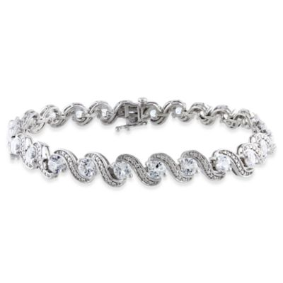 Sterling Silver 2-Prong Round Created White Sapphire Tennis 7.25-Inch Bracelet