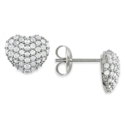 1 cttw White Diamond Silver Heart Earrings
