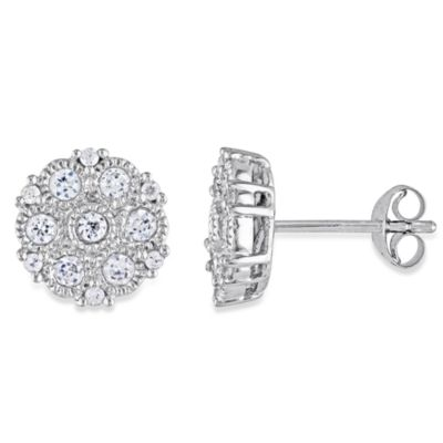 Sterling Silver and Round White Sapphire Pin Earrings