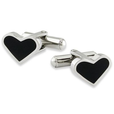 Stainless Steel with Black Enamel Heart Cufflinks