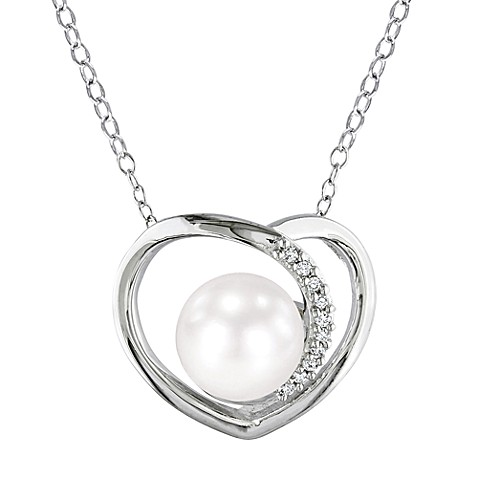 Sterling Silver .05cttw Diamond White Pearl Flash Pendant w/Chain