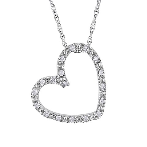10K White Gold 1/10cttw Diamond Heart Pendant w/Chain
