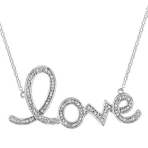 Sterling Silver 1/10 cttw Diamond Love Pendant w/16-Inch Chain