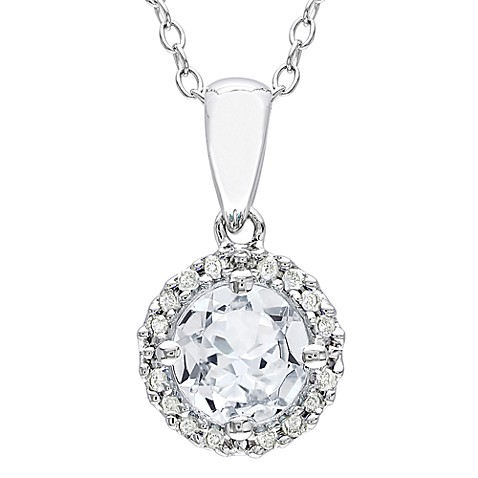 Sterling Silver, Diamond and White Sapphire Pendant w/Chain (1/10 cttw, I2-I3 Clarity, G-H Color)