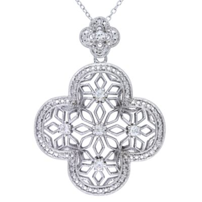 Sterling Silver Created White Sapphire and 0.28 cttw Diamond Pendant w/Chain
