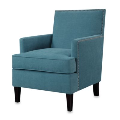 Colton Chair with Individual Nailhead Trim in Blue