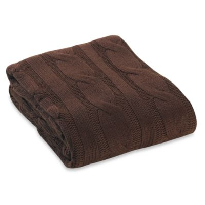 Cable Knit Throw in Brown