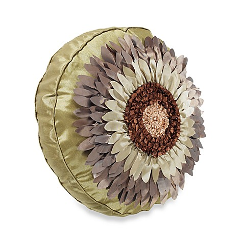 Flora Green Round Throw Pillow