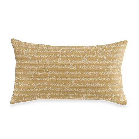 Writing Oblong Natural/Charcoal Throw Pillow