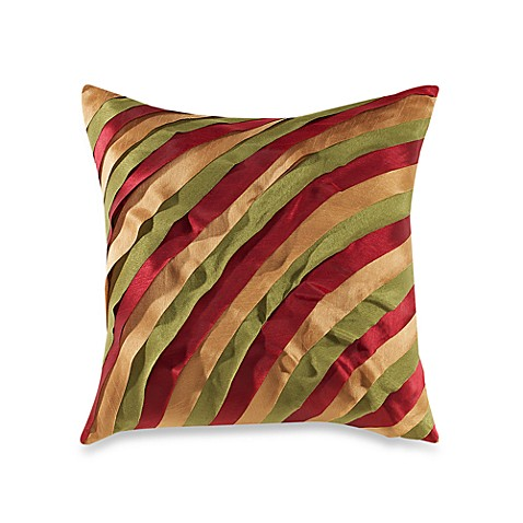 Pleated Ribbon Red/Gold/Green Toss Pillow