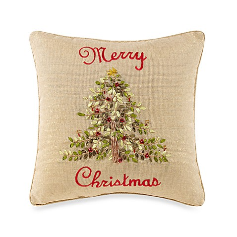 Ribboned Christmas Tree Natural/Green Toss Pillow