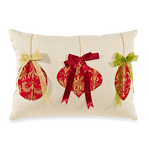Tree Ornaments Natural/Red Toss Pillow