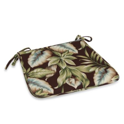 Outdoor Bistro Chair Pad in Brown Leaf