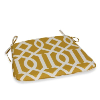 Bistro Chair Cushion with Ties in Yellow Trellis