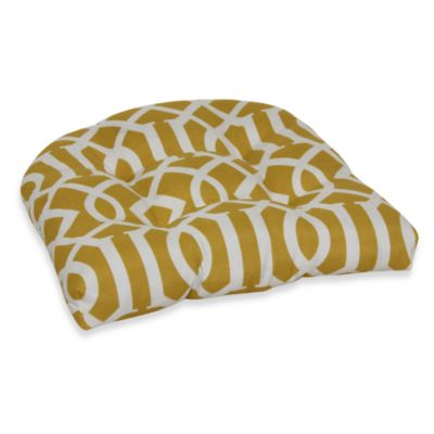Decorative U-Shaped Chair Cushion in Yellow Trellis