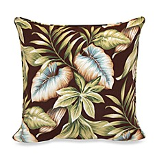 Outdoor 17-Inch Welt Cord Pillow in Brown Leaf