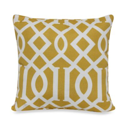 17-Inch Square Throw Pillow in Yellow Trellis