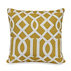 17-Inch Square Toss Pillow in Yellow Trellis