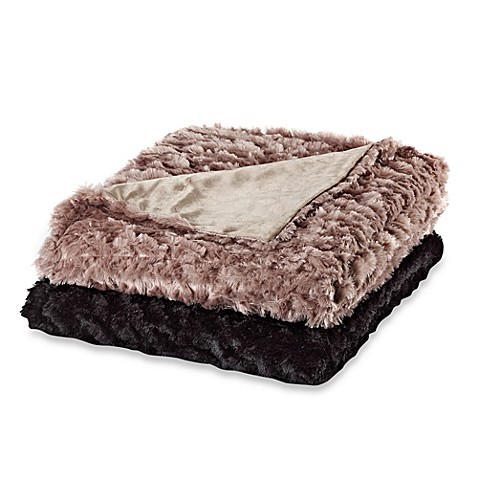 Magnolia Faux-Fur Oversized Reversible Throw Blanket