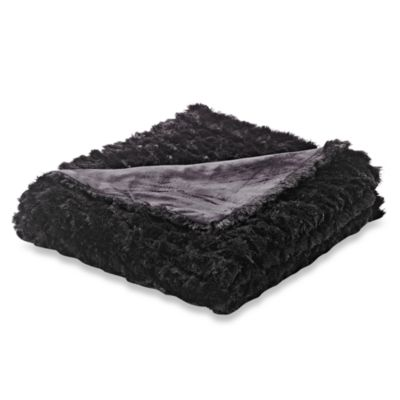 Magnolia Faux-Fur Oversized Reversible Throw in Black